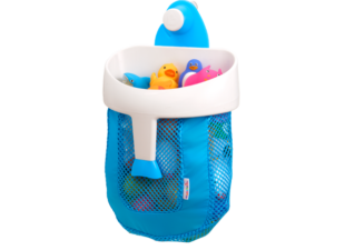 Bath toy organizer in new baby gift bundle