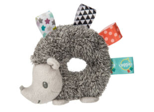 plush baby rattle in new baby gift bundle